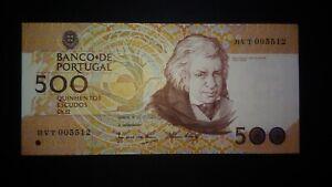 Portugal DEFECT ERROR 500 Escudos 1989 EXTRA INK (in reverse transfer), RARE, XF