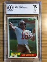 🔥 1981 Topps #216 Joe Montana Rookie Card BGS BCCG 49er HOF QB 10 Mint 🔥📈🔥