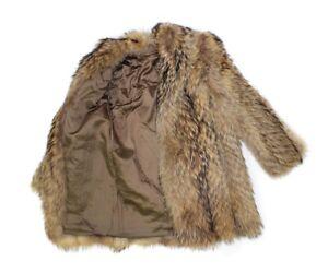 714140 New Natural Finn Raccoon Fur Feather Jacket Coat Stroller S Small