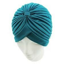Zac`s AlterEgo Pleated Plain TEAL Turbans Vintage For Hair Loss Or Fashion