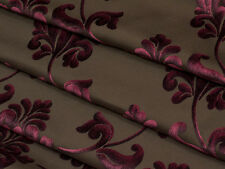 Burgundy & Brown Floral Cut Velvet Designer Upholstery Fabric