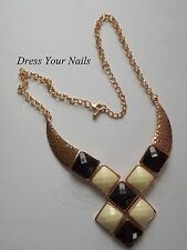 Retro Geometric Necklace Black + White Gold Coloured Chunky Chain NCC-36201
