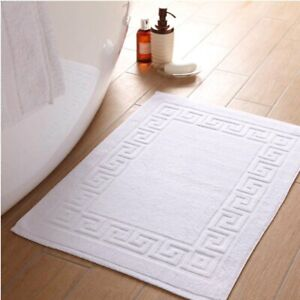 2 Pack Luxury Hotel Quality Greek Key Bath Mat Soft 100% Cotton in Pure White