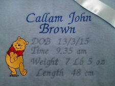 personalized boy / girl  pink or blue pooh bear  cot blankets