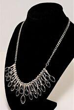 "Silver Toned w Black Rhinestones Bib Style Necklace Estate Costume Jewelry 18"""
