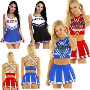 US Women Cheerleader Costume School Girls Musical Outfit Fancy Dress Uniform