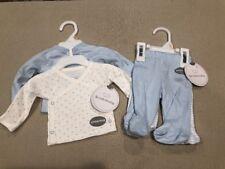 Set of 2 Kids Baby Boy Preemie Essentials 4 pieces Blue/White NEW