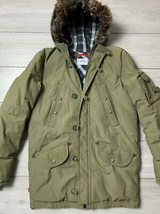 Mens LEVI'S Down Filled Parka Jacket Size Medium M | Olive Green [with defect]