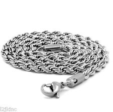 "Men & Lady Stainless Steel 4mm French Rope Link Chain Necklace 30"" Inches"