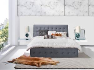 Grey Bedstead Pads Beds Double Design Hotel Bed Textile Furniture Frames
