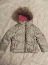854160769 Hawke & Co Outfitter Girl Hooded Puffer Silver Pink Jacket Toddler Size 3
