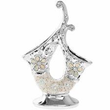Stylish Silver Flower Vase Diamonte Bling Textured Home Decoration Ornament 25cm