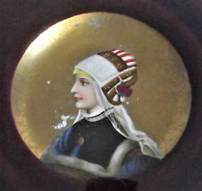 Antique KPM Style Painting WOMAN PORCELAIN Painted PLAQUE germany SIGNED german