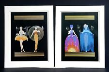 Pair of Erte Prints 1987 MORNING DAY EVENING NIGHT SUITE Matted Art Deco Print