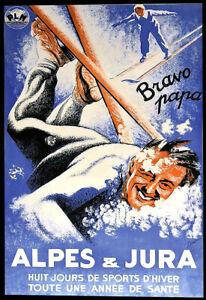 Ski Alpes et Jura Huit Jours de Sports d'Hiver Travel Deco  Art Poster Print