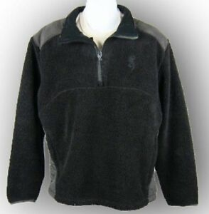 Mens NWT Browning Nappy Fleece Pullover 1/4 Zip Buckmark Jacket Black Size L