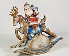 Vintage Looking Ceramic Santa Claus on Rocking Reindeer Christmas Ornament