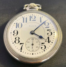 Antique 19j Elgin B W Raymond Railroad Grade Pocket Watch Double Sunk Dial
