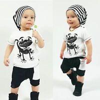 2pcs Toddler Kids Baby Boy T-shirt Tops+Shorts Pants Casual Outfits Clothing Set