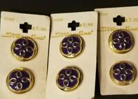 "Vintage Purple and Gold Tone Shank Buttons Original Sheets- 1"" Each"