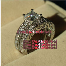 antique style Fake Engagement 10KT White Gold cubic z Filled Princess cut ring