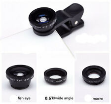 3in1 Fish Eye + Wide Angle Micro Lens Camera Kit for Phone Black Color New t