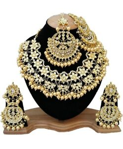 Indian Kundan Bollywood Ethnic Gold Plated Bridal Choker Necklace Jewelry Set