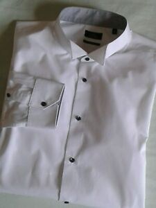 Next Men's White Slim Fit Wing Collar Dress Shirt Single Cuff 2XL Collar 18