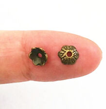 50pc 6mm antique bronze finish metal bead cap-10373