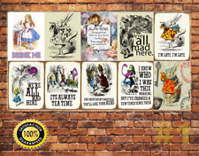 Job Lot 10 x METAL TIN SIGN WALL PLAQUE ALICE IN WONDERLAND COLLECTION #1