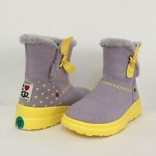 New I Heart UGG Knotty Suede Sheepskin Ankle Boots Yellow Grey Womens 4 Kids 2