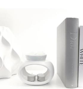 White Ceramic Wax Melt Oil Burner Tealight Holder Diffuser Ornament Gift Rome