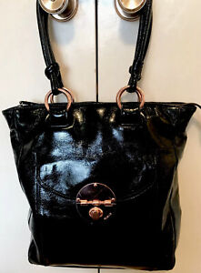 Mimco Black Tote. Shoulder Bag. Patent Leather and Rose Gold Hardware. Padded.