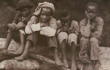 Home Boys Natchez Mississippi, Black American Children Sitting, Hat - Postcard