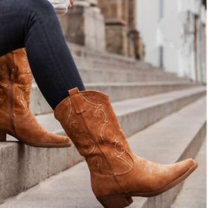 Women Cowboy Boots Autumn Winter Round Toe High Heels Mid-calf Boot Shoes New
