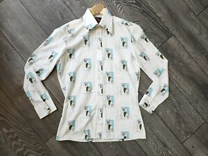 "Vintage 1970s Men's Shaft Novelty Print Shirt 15"" Collar S"