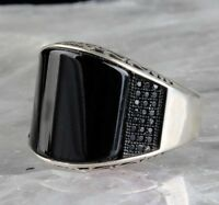 turkish jewelry 925 Sterling Silver black onyx stone Mens Mans ring ALL SİZE us
