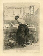 """Lucien Marcelin Gautier original etching """"Le travail"""""""