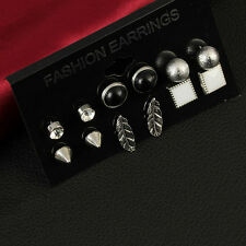 Fashion 6 Pairs Earrings Set Women Feather Crystal Square Ear Studs Jewelry New