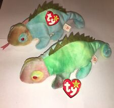 "Lot Of 2 RARE FIRST GENERATION ""IGGY"" BEANIE BABY New 1997 ty"