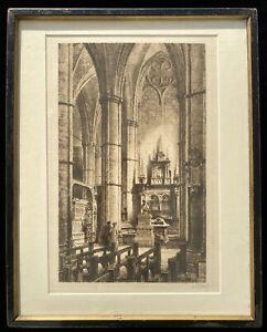 AXEL HERMAN HAIG Antique Etching Print Westminster Abbey John Dryden Tomb 1886