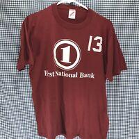 Vintage Jerzees Single Stitch First National Bank T-Shirt Men's Size Large