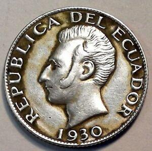 ECUADOR  50 CENTAVOS 1930  SILVER COIN VF DETAILS #A49