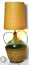 Vintage Retro Green Glass Demijohn Wicker Lamp with Shade [PL3204]