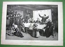 """BRITTANY France Wedding Feast Reception  -  Victorian Era Print 16"""" x 22"""""""