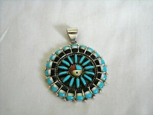 ZUNI SUNFACE NECKLACE PENDANT Turquoise MOP Inlay Sterling Silver