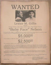 Baby Face Nelson Wanted Poster, Gangster, Outlaw, Bank Robber