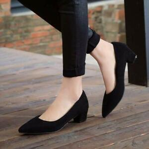 Women's Chunky Heel Shoes Casual Daily Slip On Pointed Toe Pumps Shoes Plus