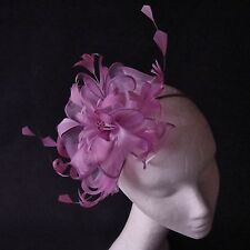 Mauve Feather Fascinator for Races , Weddings , And Proms
