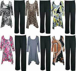 WOMENS LADIES PLUS SIZE FLORAL STRETCH TOPS TROUSERS FULL SUIT DRESS 16 18 20 22